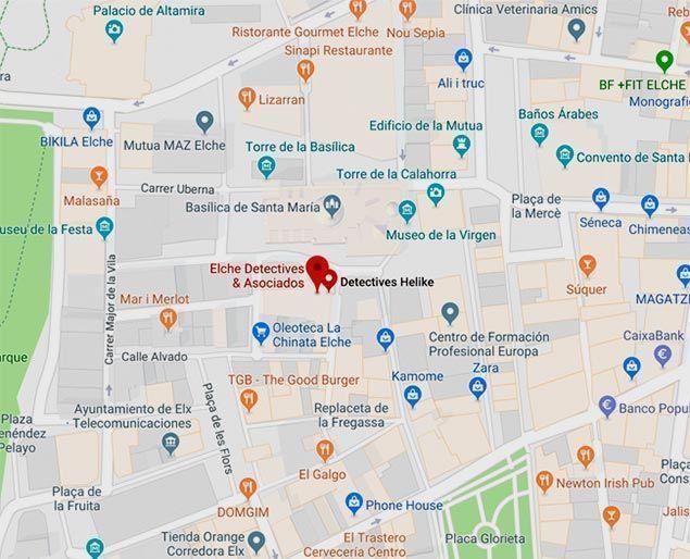 Plano Localización Información y Contacto Elche Detectives